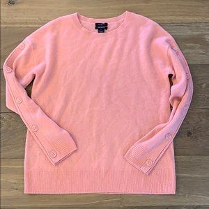 Halogen 100% Cashmere Button Sleeve Sweater